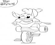 Coloriage Lilo and Stitch course de moto dessin