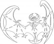 Lunala Pokemon cosmiques Generation 7 dessin à colorier
