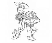 Coloriage Buzz Lightyear And Woody Sheriff Hello dessin