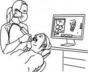 dentiste lors dun nettoyage de dents dessin à colorier