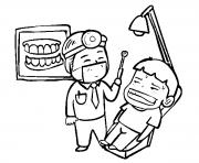 un enfant au dentiste dessin à colorier