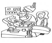 un enfant et sa maman visite un dentiste dessin à colorier