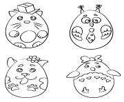animaux en forme de oeufs de paques dessin à colorier