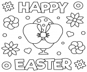 Coloriage joyeuse paques happy easter illustration