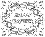 joyeux paques noir et blanc illustration  dessin à colorier