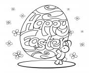lapin avec oeuf de paques dessin à colorier