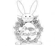 Coloriage paques sur oeuf lapin anti stress