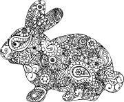 paques lapin adulte difficile dessin à colorier
