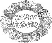 happy easter joyeuse paques mandala dessin à colorier