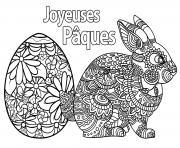 oeuf et lapin de paques joyeuse paques dessin à colorier