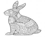 Coloriage paques lapin adulte zentangle