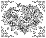 Coloriage licorne adorable fleurs adulte anti stress