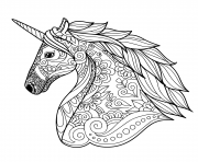 Coloriage licorne adulte zentangle