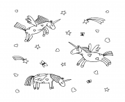 Coloriage licorne cartoon pattern