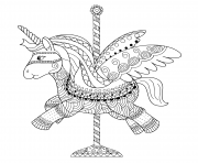Coloriage licorne manege adulte zentangle