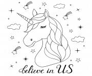 tete licorne croire en soi dessin à colorier