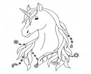 licorne simple noir et blanc dessin à colorier
