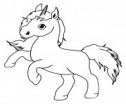 petite licorne simple facile dessin à colorier