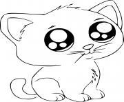 chat vraiment mignon kawaii dessin à colorier