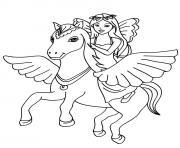petite fille sur cheval dessin à colorier