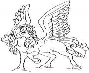 cheval volant pour une princesse fille dessin à colorier