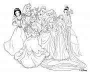 raiponce et les princesses disney dessin à colorier