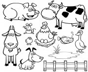 animaux de la ferme dessin anime dessin à colorier