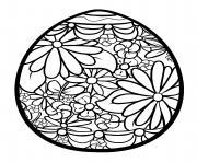 oeuf de paques fleuri dessin à colorier