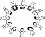 enfants multiculturel autour de la terre main dans la main dessin à colorier