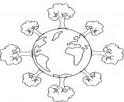 jour de la terre planete entouree arbres dessin à colorier