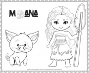 cute mini vaiana et pua dessin à colorier