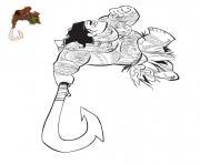 Coloriage princesse vaiana moana Waialiki et Pui Pig dessin