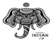 Coloriage elephant indian adulte zentangle