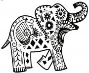 Coloriage henna elephant motifs amusants