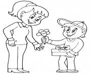 fete des meres garcon offre des fleurs dessin à colorier