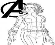 Coloriage avengers endgame Black Widow Marvel