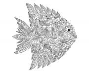 zentangle poisson mondes aquatiques dessin à colorier