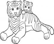 tigre avec son bebe tigre famille dessin à colorier