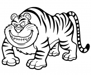 Coloriage tigre en plein saut dessin