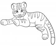Coloriage tigre dans l herbe dessin