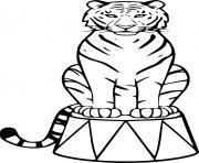 tigre au circle dessin à colorier