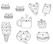 kawaii chats macarons pizza burger ice cream donut cafe dessin à colorier