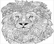 Coloriage adulte lion motifs complexes