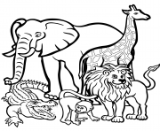 african animals dessin à colorier