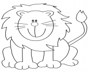 lovely cartoon lion dessin à colorier
