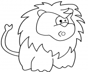 surprised cartoon lion dessin à colorier