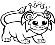 funny lion in a crown dessin à colorier