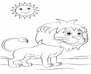 cute cartoon lion sun dessin à colorier