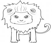 Coloriage cute cartoon lion