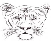 lioness head dessin à colorier